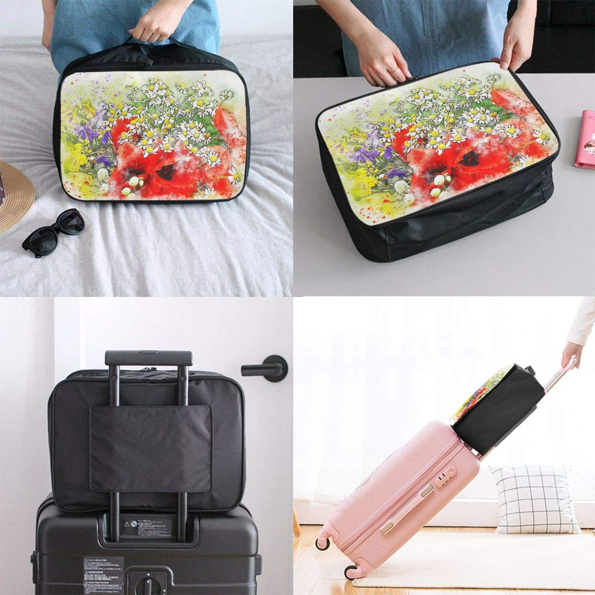 Abstract Color Paint Splash Travel Lightweight Waterproof Foldable Storage Carry Luggage Large Capacity Portable Luggage Bag Duffel Bag