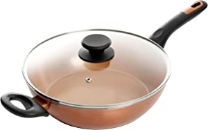 Gibson Home Eco-Friendly Hummington with Induction Base Forged Aluminum Non-Stick Ceramic Cookware with Soft Touch Bakelite Handle, 3-Quart Everyday Pan, Metallic Copper