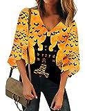 LookbookStore Womens V Neck Mesh Panel Blouse 3/4 Bell Sleeve Festival Top Shirt