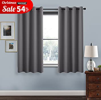 Grey Blackout Curtains For Bedroom Windows   Thermal Insulated Window  Treatment / Curtain Panels With Ring