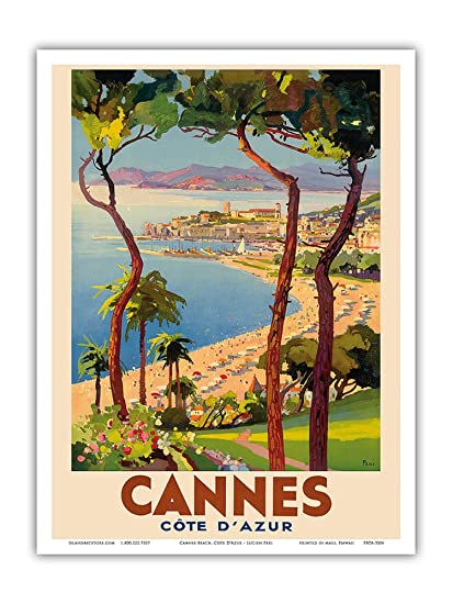 Cannes - Côte d'Azur, France - French Riviera - Vintage World Travel Poster  by Lucien Peri c 1938 - Master Art Print - 9in x 12in