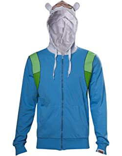Adventure Time Hoodie Finn Inspired Cosplay Costume Official Mens Blue Zipped