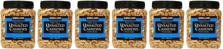 Kirkland Signature, Unsalted RvSma Cashews 2.5 Pound (Pack of 6) KKCdp