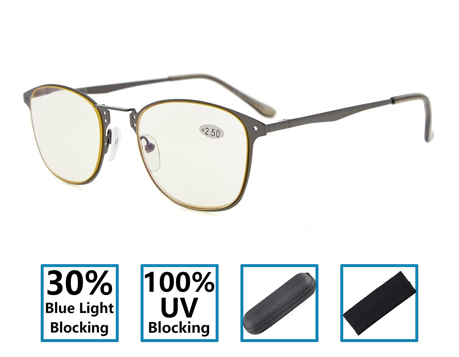 Gr8Sight 30% Blue Light Blocking, 100% UV Protection Quality Retro Frame Spring Hinges Specs Reading Glasses For Computers, TV And All Electronic Devices Yellow Lens Gunmetal +4.00