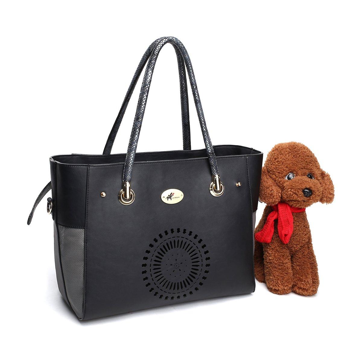 Royal Want Caisse en cuir légère de transporteur d'animal familier avec la natte démontable pour le lapin, le sac à main et le sac d'épaule de chat de chien, la mode et l'utilisable la mode et l' utilisable HaoYi