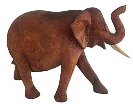 Oma Elephant Statue Solid Wood Hand Carved Lucky Trunk Up Elephant Figurine Home Decor Large