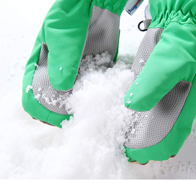 Hugmii Kids Boys Girls Winter Warm Waterproof Snow Ski Extended Adjustable Knit Cuff Gloves Mittens 3-10 Years Old