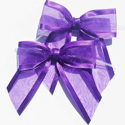 Lilac or Blue Set of Two Girls Polka Dot Organza /& Satin Bow Hair Bands Pink