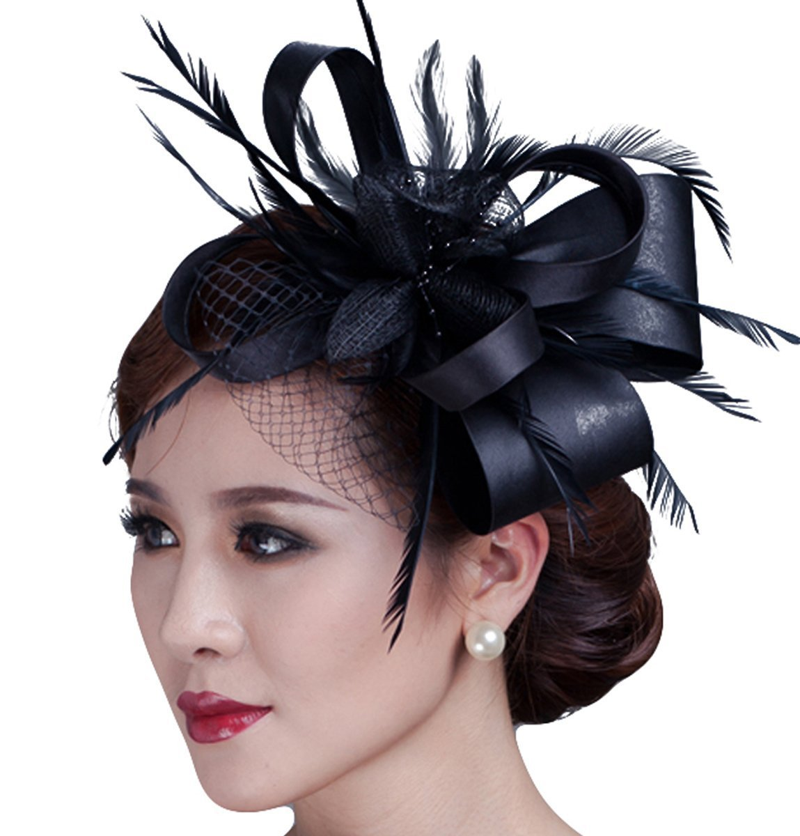 Cambric Fascinator Wedding Evening Party Derby Hat with Veil Feather Hair Clip (black)