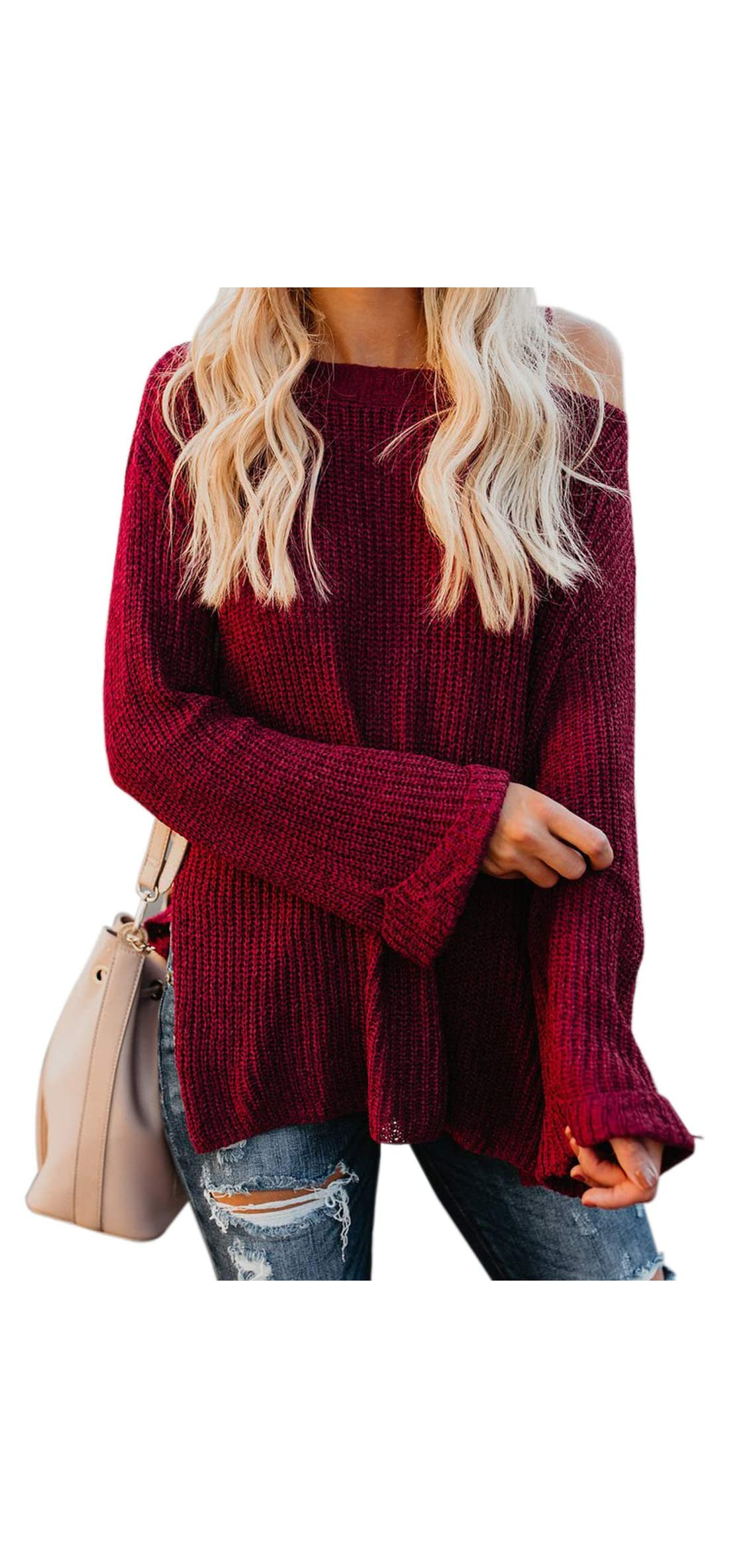 Women Cold Shouder Sweater Long Sleeve Loose Pullover Knit