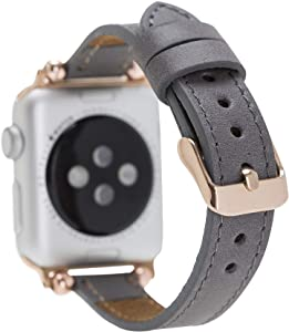 Renna Genuine Leather Slim Style Band 44mm 42mm 40mm 38mm, Handmade Leather Band for Women Men Strap Bracelet for iWatch series new SE, 6 and 5 4 3 2 1 (Gray Strap, Rose Gold Connector, 38mm-40mm)