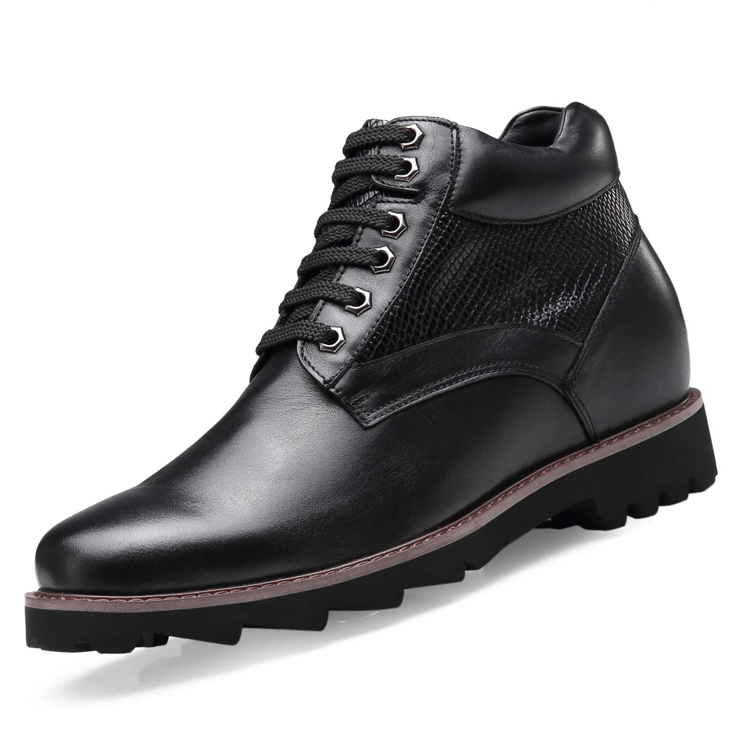 CHAMARIPA Height Increasing Elevator Shoes Tall Men Boots Black Leather 3.54 Inches Taller H91B35H091D