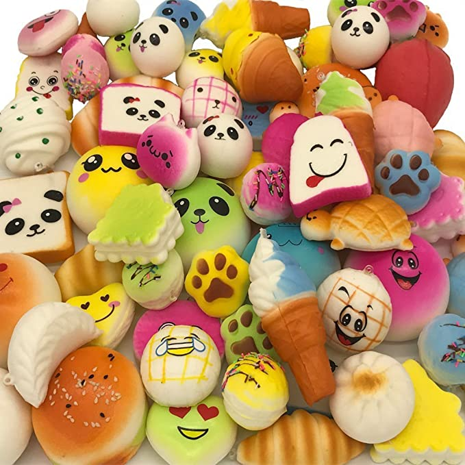 30pcs Squishies Dessert Random Kawaii Mini Medium Jumbo Scented Squishies Slow Rising Animal/Panda/Cake/Bread/Buns/Toast/Donuts Keychain Phone Strap ...
