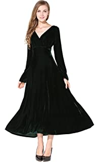 Womens Long Sleeve Big Hem Flouced Velvet Stretchy Party Dress