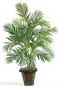 Nearly Natural 6536 Areca Palm with Wicker Basket Decorative Silk Plant, Green