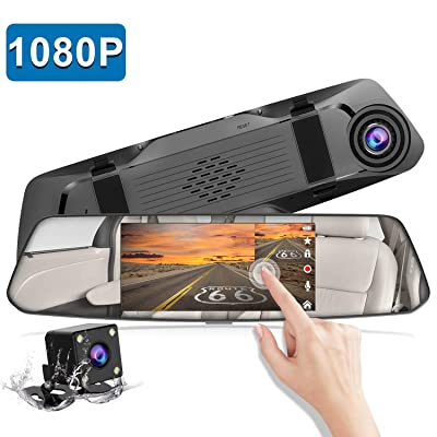 "Backup Camera 5"" Mirror Dash Cam Touch Screen Full HD 1080P CHORTAU Dual Dash Cam Front and Rear with Waterproof Rear View Camera with Loop Recording and Parking Monitor: Car Electronics"
