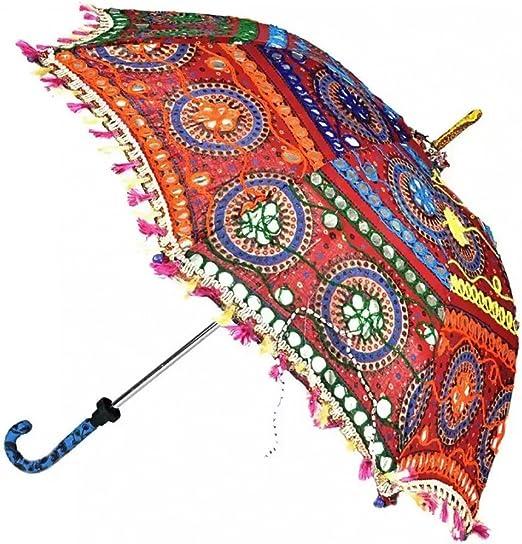 ganesham Handicraft- indio decorativo hecho a mano decorativo algodón espejo trabajo bordado, protección UV paraguas, sombrilla, sombrilla de Boho Bohemio indio boda paraguas sombrilla, playa paraguas: Amazon.es: Hogar