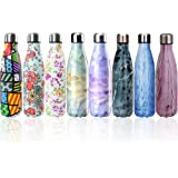 Y-Chen Double Walled Stainless Steel Vacuum Water Bottle, Portable Travel Sports Leak-Proof No Sweat Cola Shape Bottle Keep You Drink Cold & Hot,17oz(500ml)
