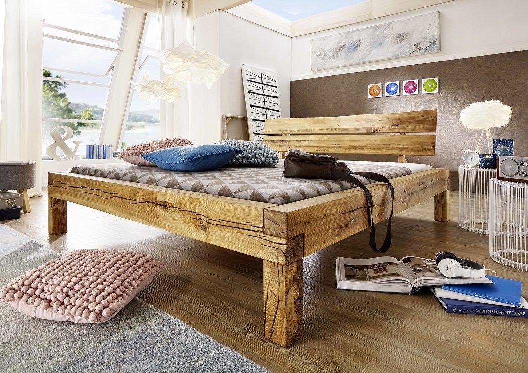 Balkenbett Bett Doppelbett 'Carina' 200x200cm Wildeiche massiv Holz geölt