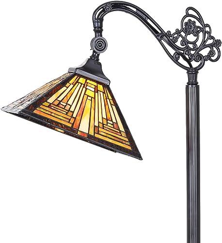 Cotoss Tiffany Floor lamp Reading Tiffany Style Reading Floor Lamp Adjustable Angle Stained Glass Floor Lamp Tiffany Style Tall Standing Lamp Pole Lamp 1 Light Tiffany Lamp