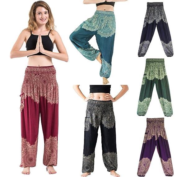 Yoga Pantalones Mujer Deportivas Trousers Boho Festival Hippy Leggins Polainas para Mujer EláSticos Pilates Fitness Estilo Estampado Pantalones (Azul): ...