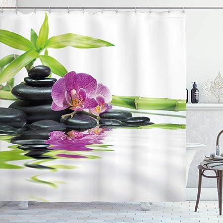 SODIAL India Spa Zen Bouddha Eau Yoga Rideau De Douche en Polyester Tissu /éTanche De Massage Pierre Orchid/éE Salle De Bains Rideaux De Bain 1.8x1.8Cm