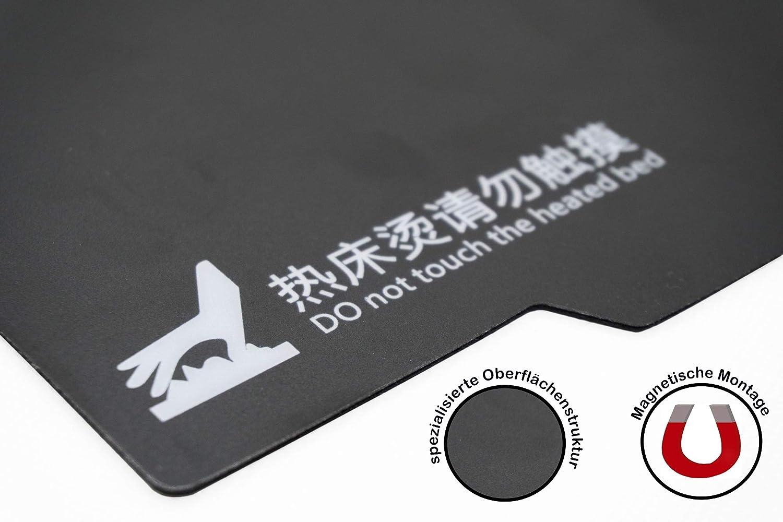 Quadratisch schwarz magnetische Druckoberfl/äche f/ür 3D-Druck mit 3M Klebefl/äche 1 St/ück Teil A 235x235 mm Druckfl/äche PrintTec 235x235 mm B