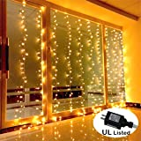 AMARS Safe Voltage Bedroom String LED Curtain Lights Waterfall Window Lights Outdoor Indoor LED Lights for Wedding, Party, Home, Living Room (Warm White, UL Listed,9.8 Feet)