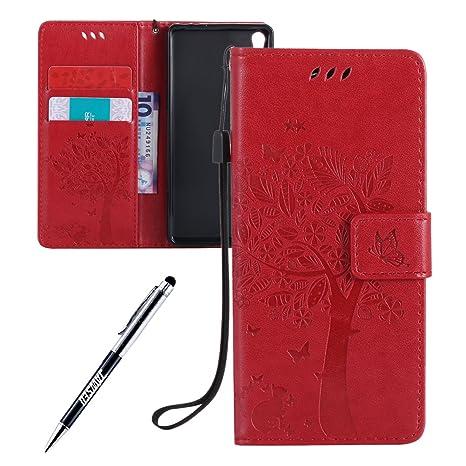 Carcasa Sony Xperia E5, Funda Sony Xperia E5, JAWSEU Sony Xperia E5 F3311 F3313 Tapa Trasera Carcasa Diseño Empalme Cuero Billetera PU Leather Premium ...