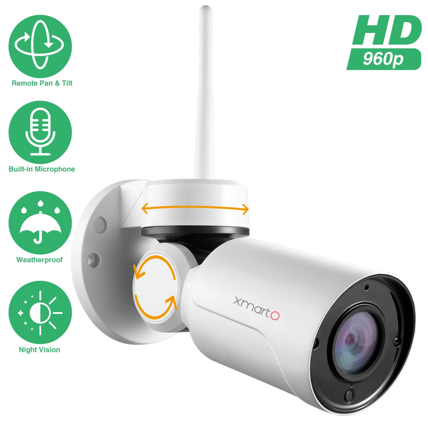 [PTZ & Built-in Mic] xmartO Add-on 960p HD Wireless Pan Tilt WiFi Security Camera with Audio, 180° Pan and 55° Tilt Remote Control, 80ft IR Night Vision, 4mm Lens, 4X Digital Zoom by xmartO
