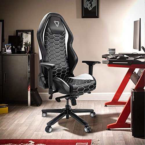 Furgle Gaming Chair Racing Style High-Back Office Chair w 4D Adjustable Armrests PU Leather Executive Ergonomic Swivel Video Game Chairs with Rocking Mode