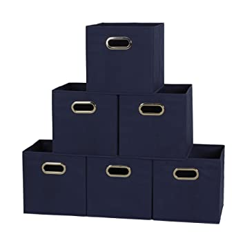 Household Essentials 81 1 Foldable Fabric Storage Bins   Set Of 6 Cubby  Cubes With