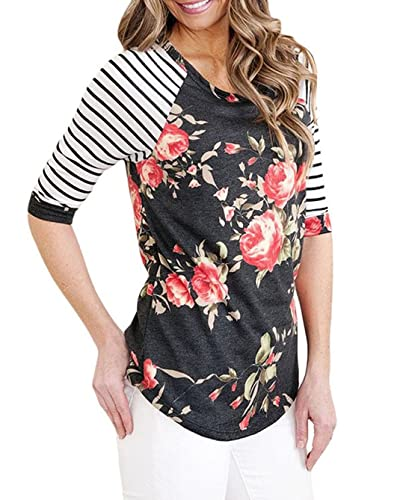KISSOURBABY Women Casual Striped 3/4 Sleeve Tops Lady Floral Print Blouse T-shirt