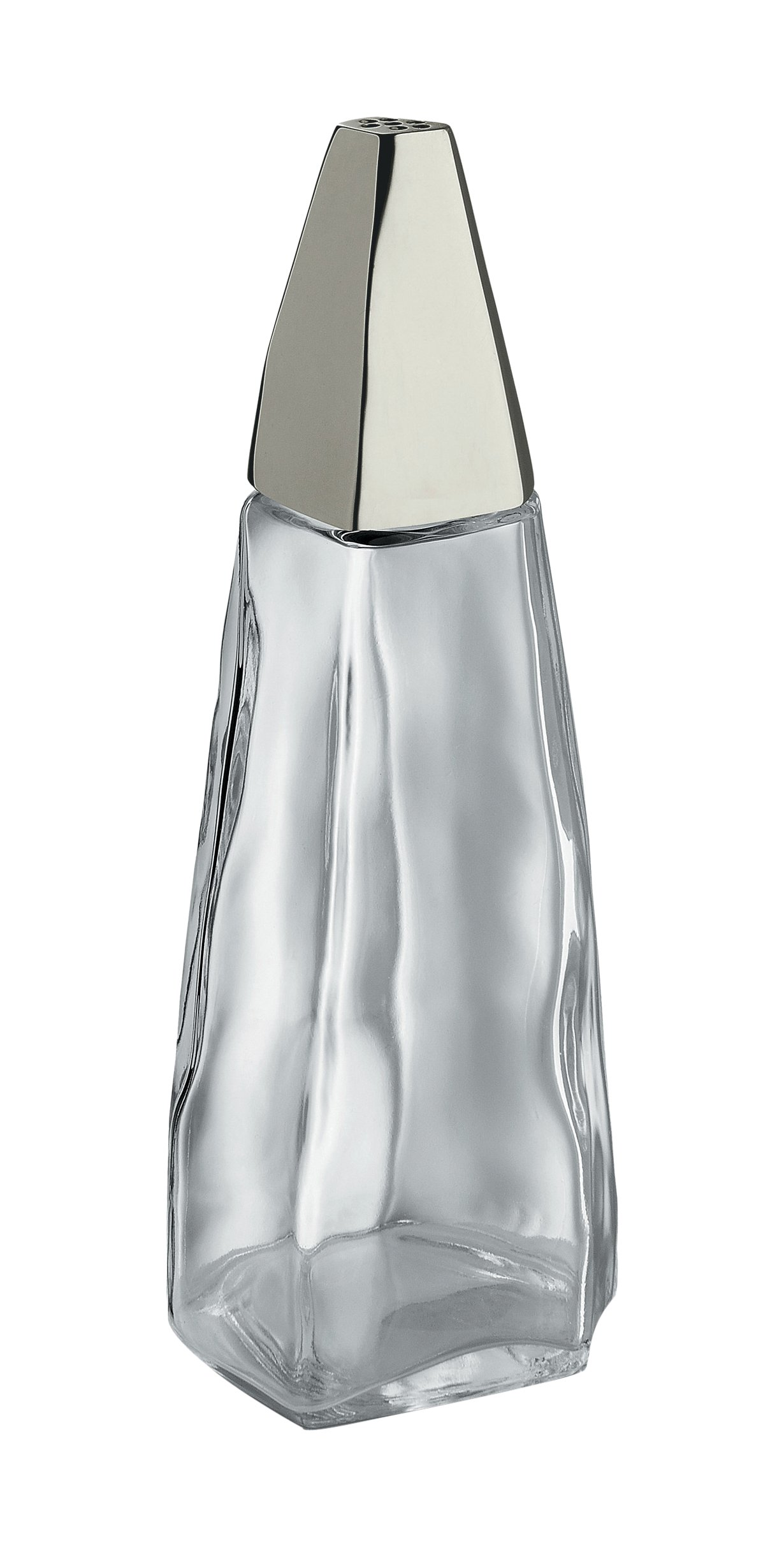 Alessi Salt Castor in Glass And 18/10 Stainless Steel, Transparent