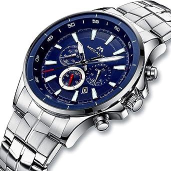 3814398d10 [メガリス]MEGALITH 腕時計 時計メンズ ステンレススチール防水 クロノグラフウオッチシルバー 多針