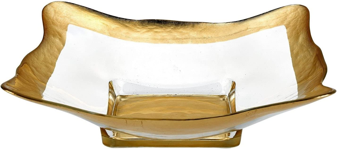 Nature Home Decor 84D242G Decorative Bowl 12 inch Square with Genuine Gold Leaf Pattern