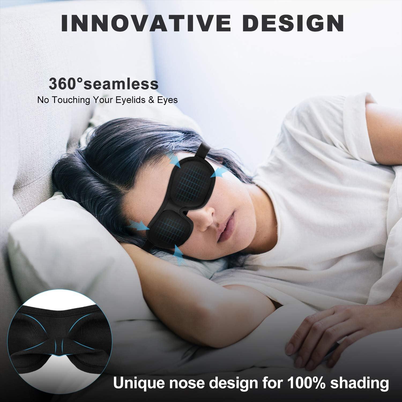 masque de sommeil de nuit en mousse /à m/émoire de forme Noir masque de sommeil 100/% occultant confortable pour nap//migraine//camping//voyage Seika Masque de sommeil 3D contour des yeux pour dormir