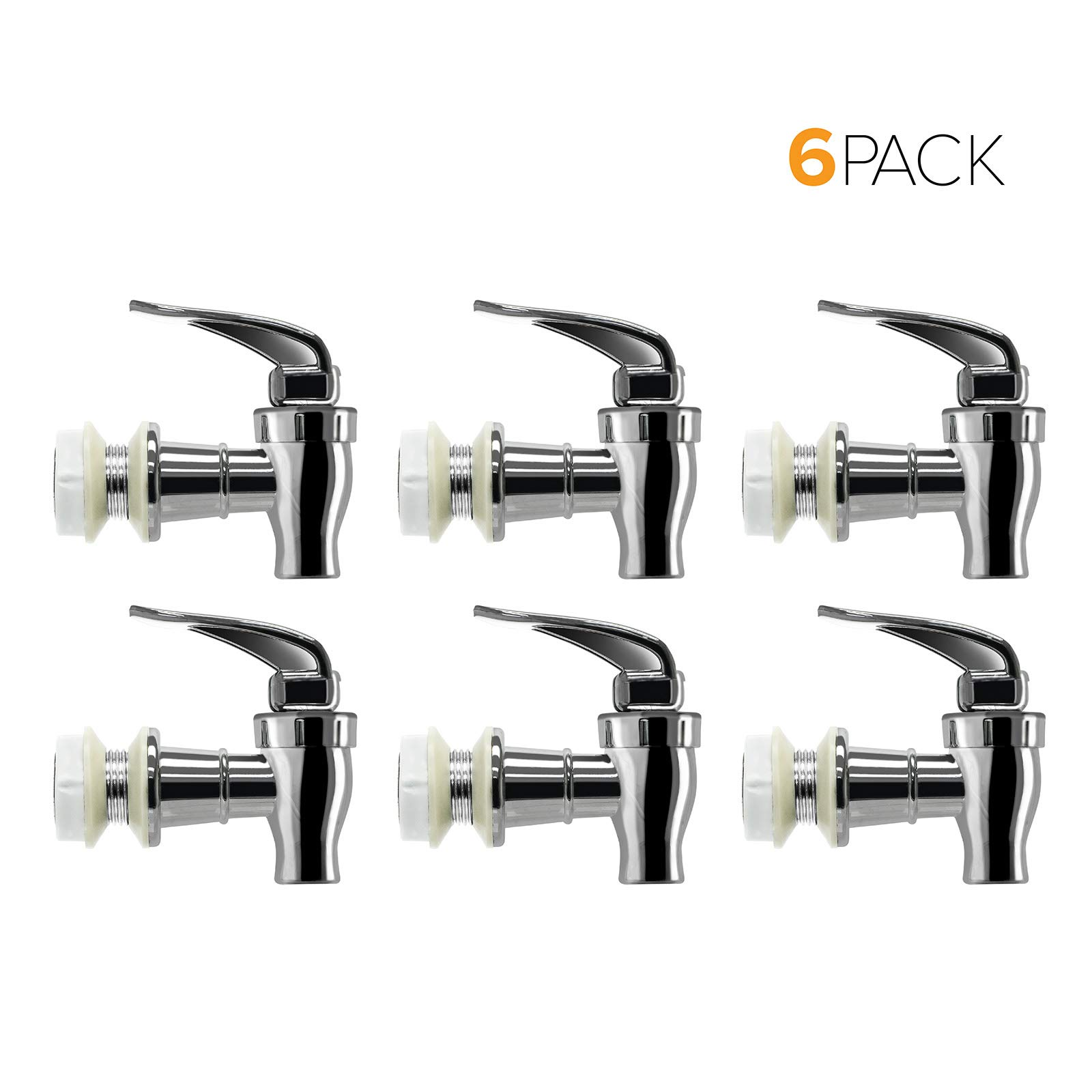 Brio Water Dispenser Replacement Valve 6-PACK, Cooler Faucet Spigot for Beverage Dispensers, Crocks, Coolers, and More BPA-Free Food Safe Material (Chrome) by Brio