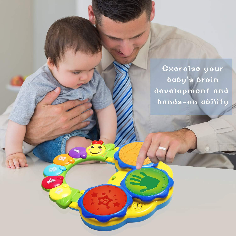 ACTRINIC Juguete para bebés de 6-12 años Juguete portátil con música para bebés Juguete Instrumental de Tambores de Mano Juguete de música/Luce/Sonido ...