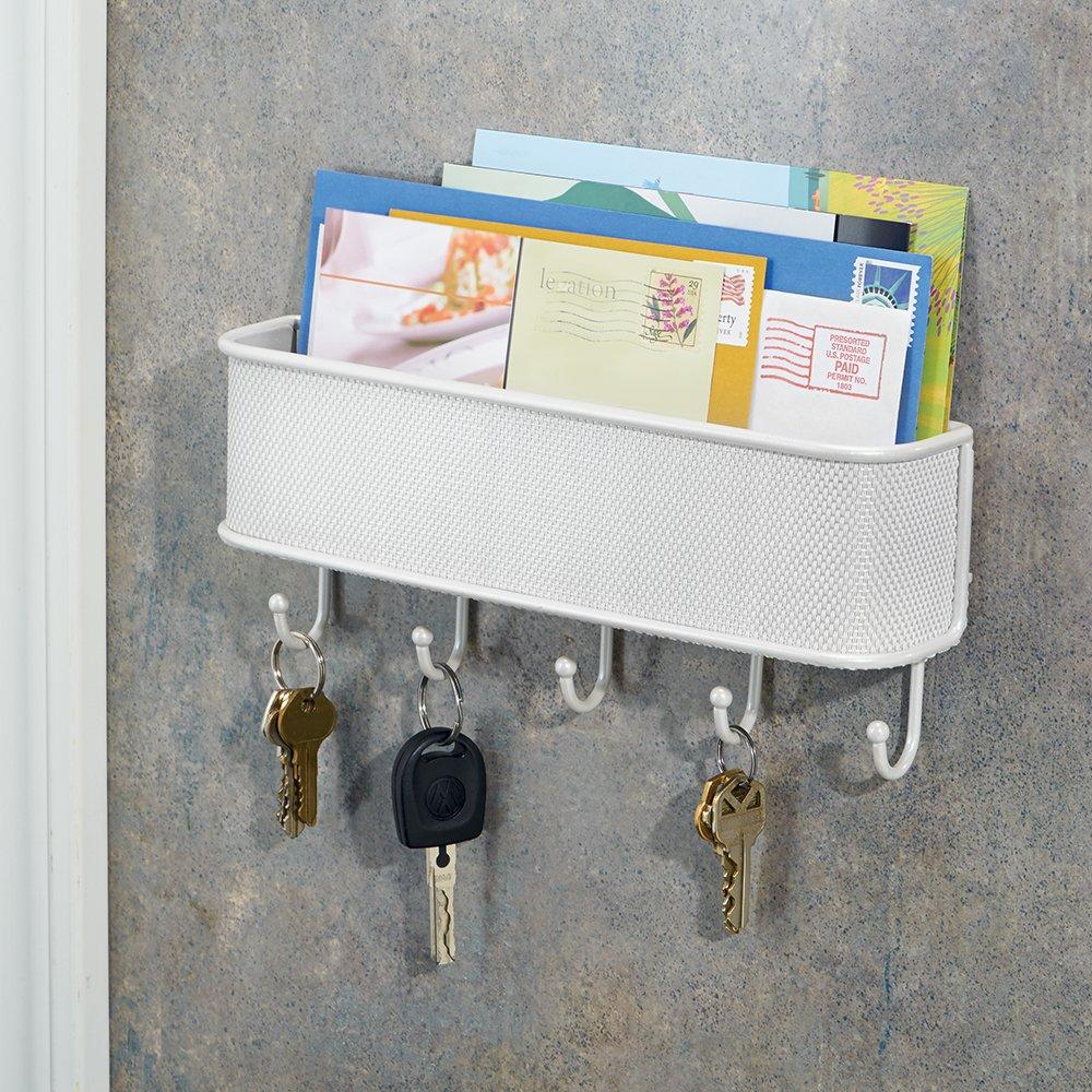 wei/ß Ablagesystem f/ür die Wand im Flur aus Metall und Kunststoff mit Briefablage und Schl/üsselbrett InterDesign Twillo Organizer
