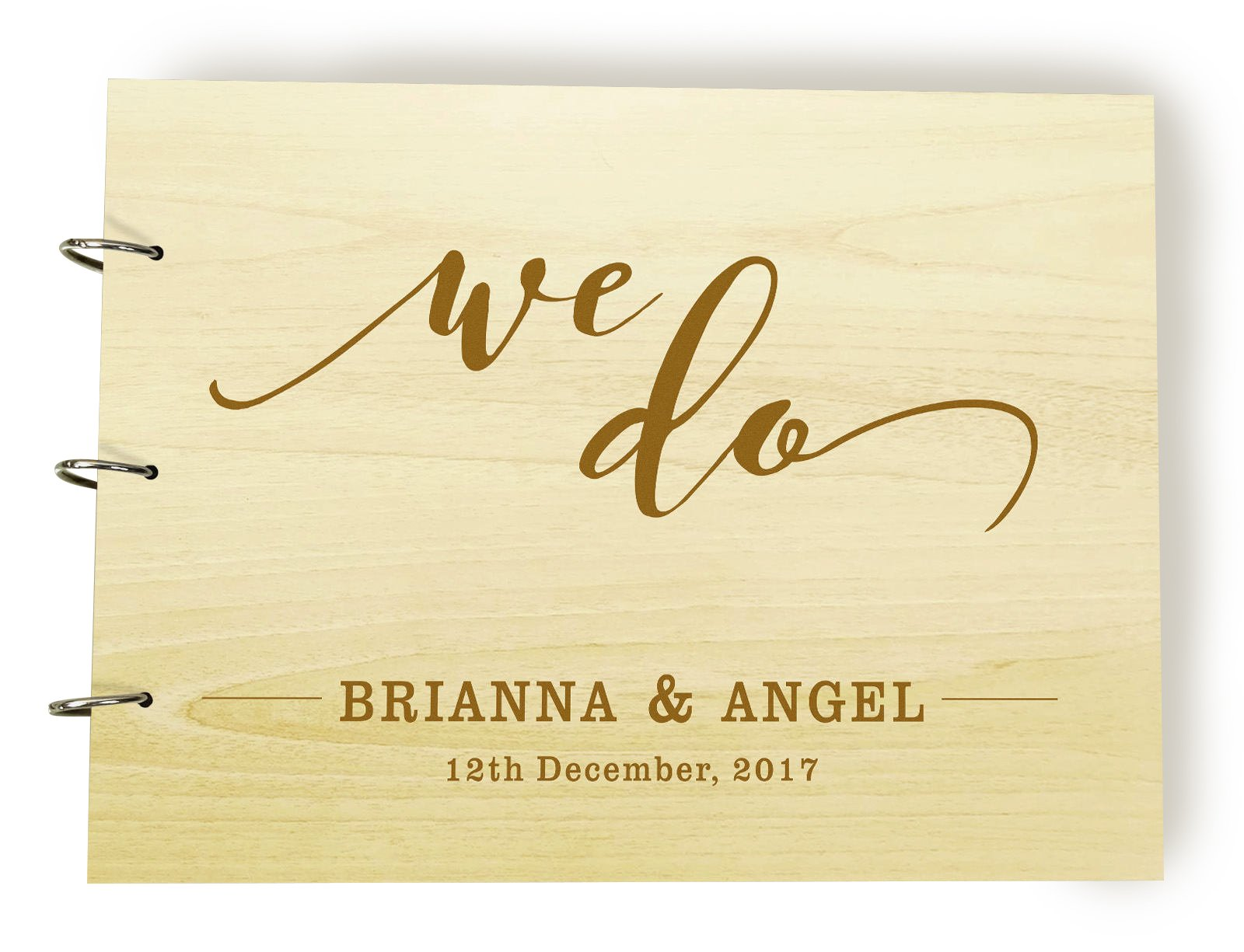Rustic We Do Guestbook, Wood Engraved Wedding Guest Book, Sign In Book, Custom Date and Name Wedding Guestbook, Personalized Scrapbook, Bridal Shower Gift.