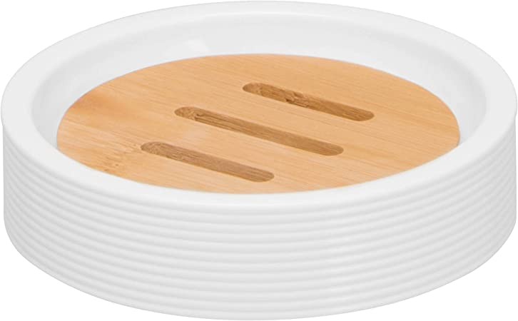 bremermann Jabonera Segno de bamb/ú y pl/ástico color blanco