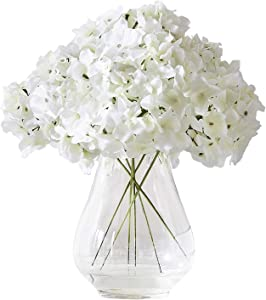 Kislohum Hydrangea Silk Flower White 10 Heads Artificial Hydrangea Silk Flowers Head for Wedding Centerpieces Bouquets DIY Floral Decor Home Decoration with Long Stems - White