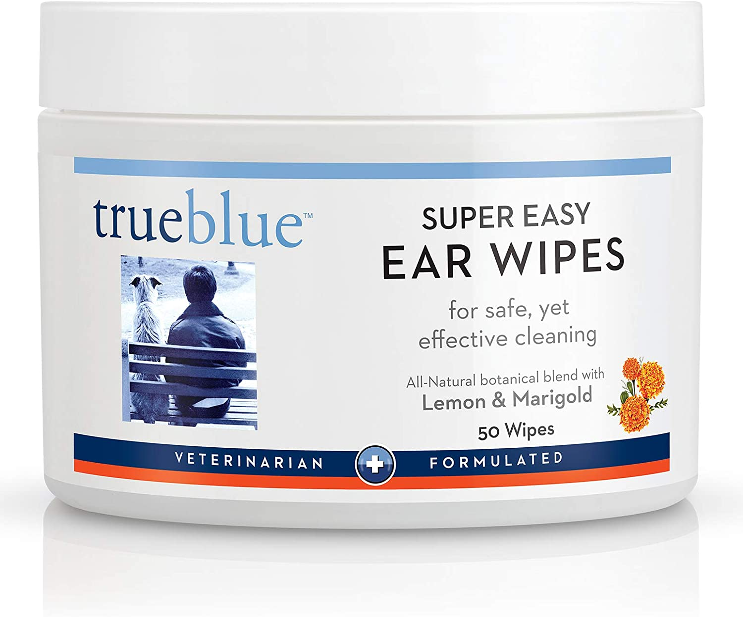 TrueBlue Lemon & Marigold Super Easy Dog Ear Wipes – Pre-Moistened Puppy Pads for Ear Cleaning – Cleansing Ear Wipe for Dogs, Puppies – Non-Toxic, All-Natural – 50 Count