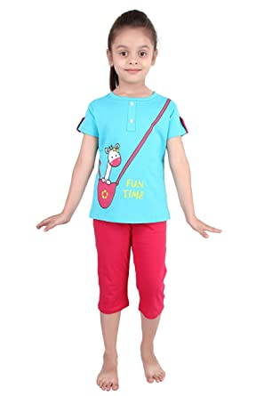 Punkster Red Cotton Cap Sleeves Top   Capri Night Suit Set For Girls   Amazon.in  Clothing   Accessories afa3b9805
