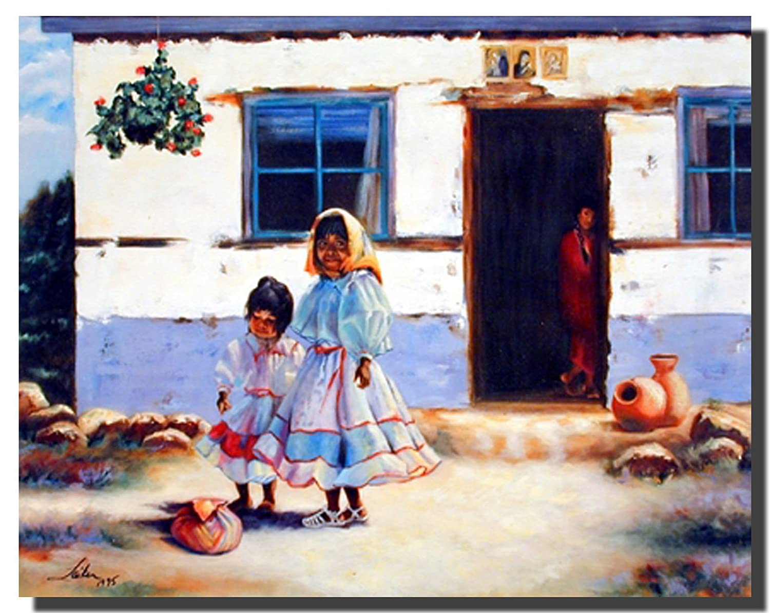 Wall Decor Old Mexican Lady with Children Art Print Poster (16x20)