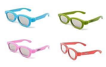 Ultra Rosa 1 Par de Gafas 3D Pasivo para Ni/ños para Uso con todas las TV Proyectores de Cine Pasivos y Pel/ículas RealD Circulares Polarizados