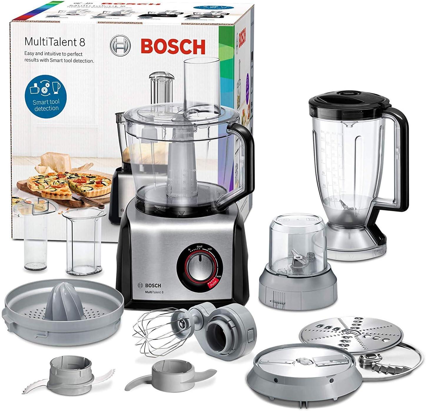 Bosch MC812M844 MultiTalent 8 Robot de cocina con accesorios, 1.250 W, 3.9 litros de capacidad, color negro y acero inoxidable