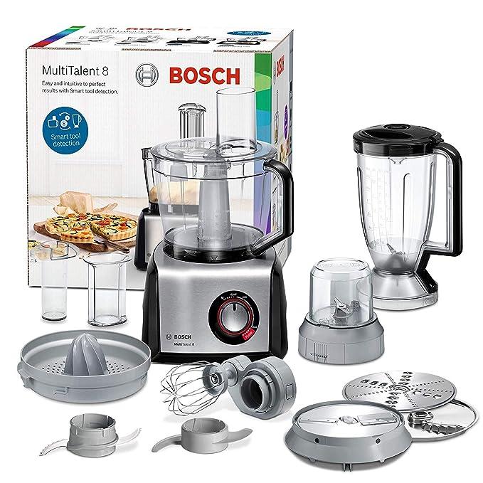 Bosch MC812M844 MultiTalent 8 Procesador de Alimentos, 1250 W, 3.9 litros, Acero Inoxidable, Negro