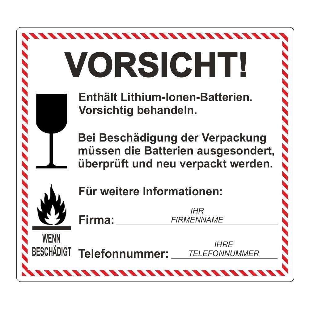 'VORSICHT! Lithium-Ionen-Batterien' inkl. Firmenname und Telefonnummer - 120 x 110 mm - 500 Stück
